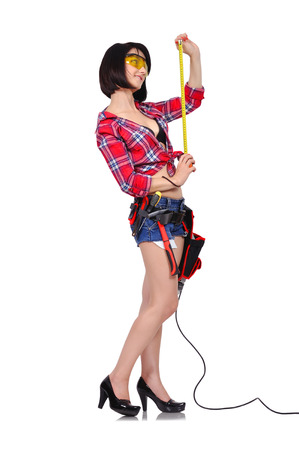 girl with tape measure on white background photo