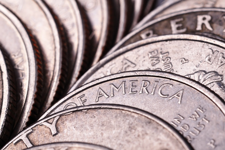 silver coins: American silver coins, high resolution Stock Photo