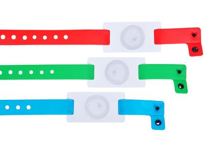 rf: color rfid id bracelets, close up