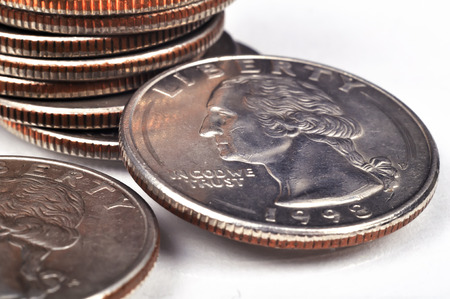 American one quarter coins, close up Stock Photo
