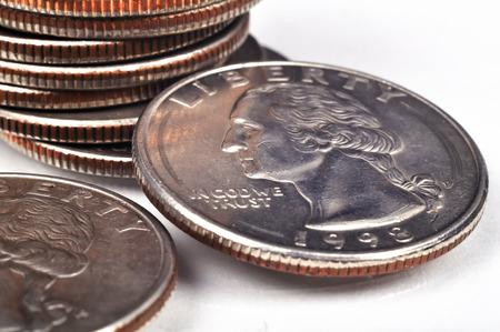 American one quarter coins, close up Imagens