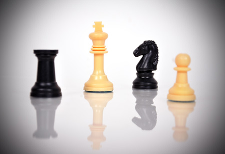 White Chess Kings and other chess pieces photo