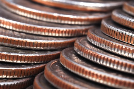 debt collection: american coins stack, high resolution