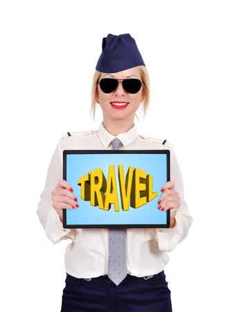 travel symbol: stewardess holding  touch padwith travel symbol