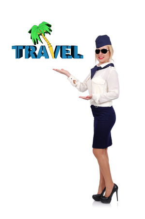 commercial tree service: stewardess in uniform holding travel symbol on white background