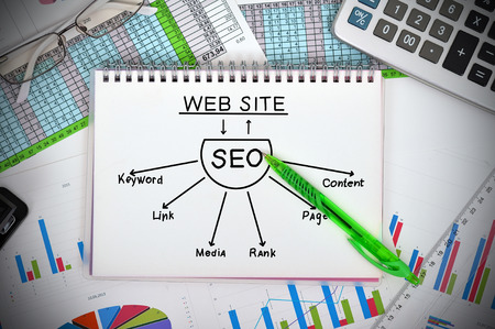 notebook with seo scheme  and financial charts photo