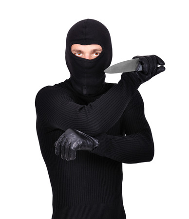 man holding knife on a white  photo