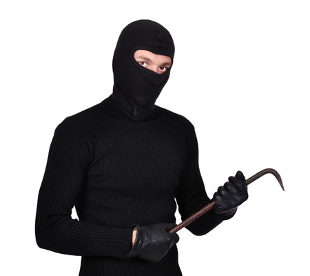 mugger: mugger in mask with nail puller on white