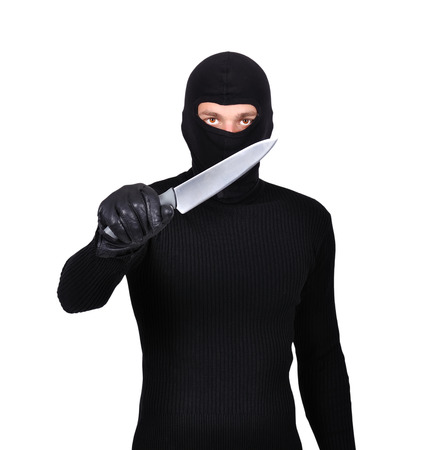 man with knife on a white background photo