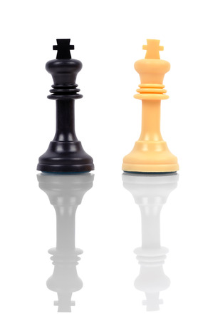 two chess king with reflection, close up photo