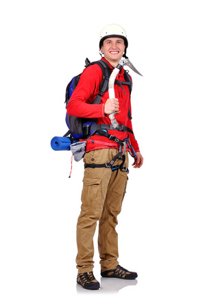 ice axe: hiker with ice axe on a white background