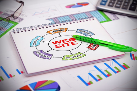notebook with drawing web site scheme and financial charts photo