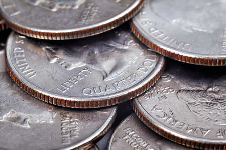 silver coins: silver quarter US cent coins, high resolution