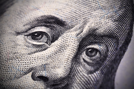 ben franklin: Benjamin Franklin face on the US $100 dollar bill. Extra close up