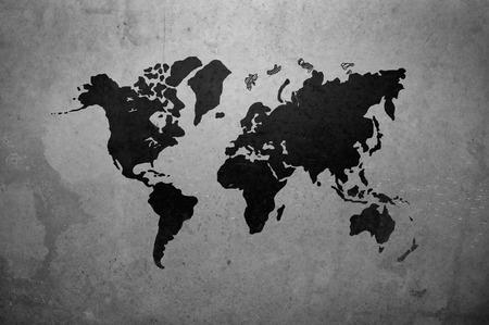 mapa mundi: mapa del mundo sobre la base de gris muro de hormig�n