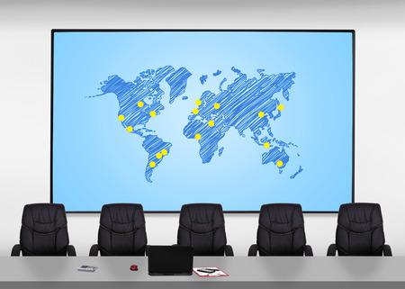 plasma screen: big plasma screen with world map in office