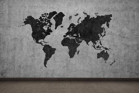 mapa mundi: dibujo mapa del mundo en gris muro de hormig�n Foto de archivo