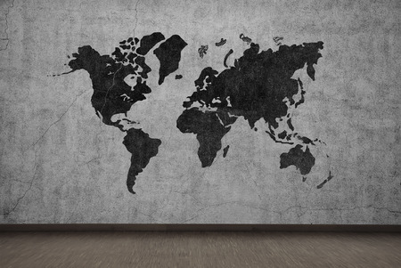 stained concrete: drawing world map on gray concrete wall Stock Photo