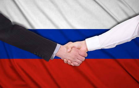 syndicate: handshake on a Russia flag background