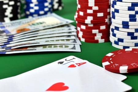 ace: Ace, jack, poker chips and money