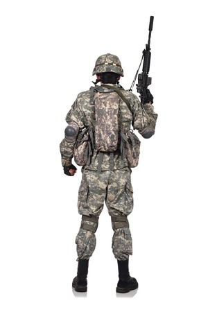 militant: US soldier with rifle isolation on white background