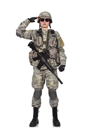 fatigues: US soldier with his assault rifle on white background