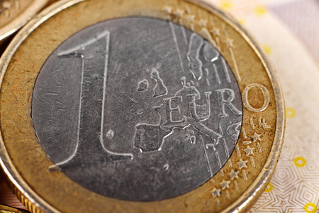 One euro coin money, extra close up. photo
