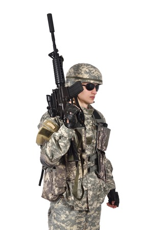 fatigues: soldier with rifle isolation on white background