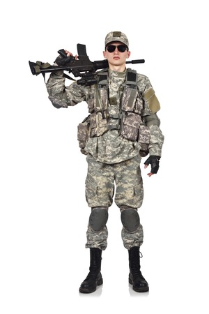 fatigues: american soldier with rifle isolation on white Stock Photo