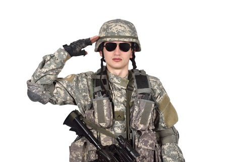 salutes: US soldier salutes  isolation on white background