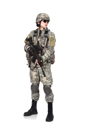 fatigues: US soldier with rifle isolation on white background
