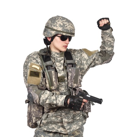 soldier with gun on a white background Stock Photo