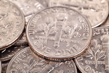 dime: one dime coins, extra close up Stock Photo