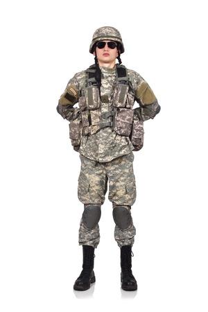soldado: Soldado de pie sobre un fondo blanco