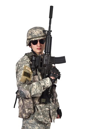 fatigues: soldier raised his rifle up on a white background Stock Photo