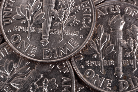 dime: silver one dime coins, extra close up