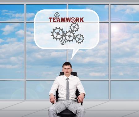 broker: Broker dreaming of teamwork sitting in office