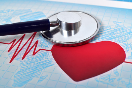 medical stethoscope and heart, extar close up photo