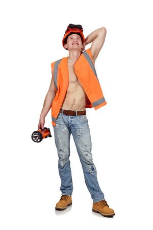 happy worker: happy worker man with flashlight on a white background Stock Photo
