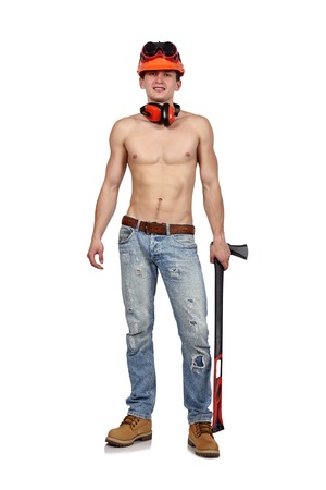 ax man: worker man with ax on a white background