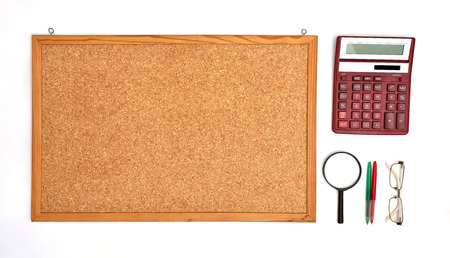 blank cork board and business elements photo