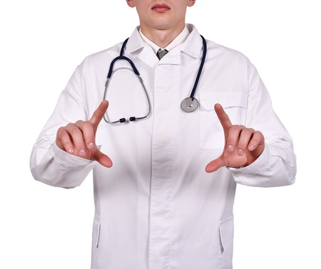 invisible object: doctor holding invisible object in hand on white background Stock Photo
