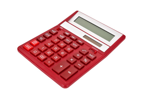 square root: Moden Red Calculator on a White Background