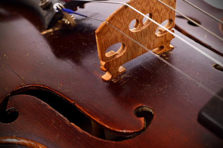 classical music: Classic music vintage violin, extra close up Stock Photo