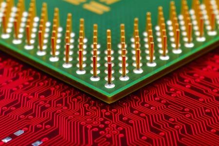 computer cpu: computer cpu chip on mainboard, extra close up Stock Photo