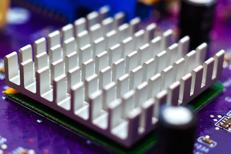 chipset: chipset heatsink on motherboard, close up Stock Photo