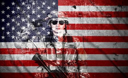 アメリカの国旗の背景、二重露光に兵士敬礼 写真素材