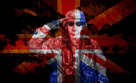salutes: soldier salutes on a grunge England flag background, double exposure
