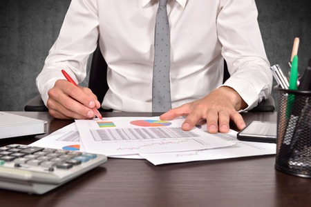 accountant checks the annual report