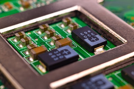 processors: electronic circuit board with processors, extra close up Stock Photo